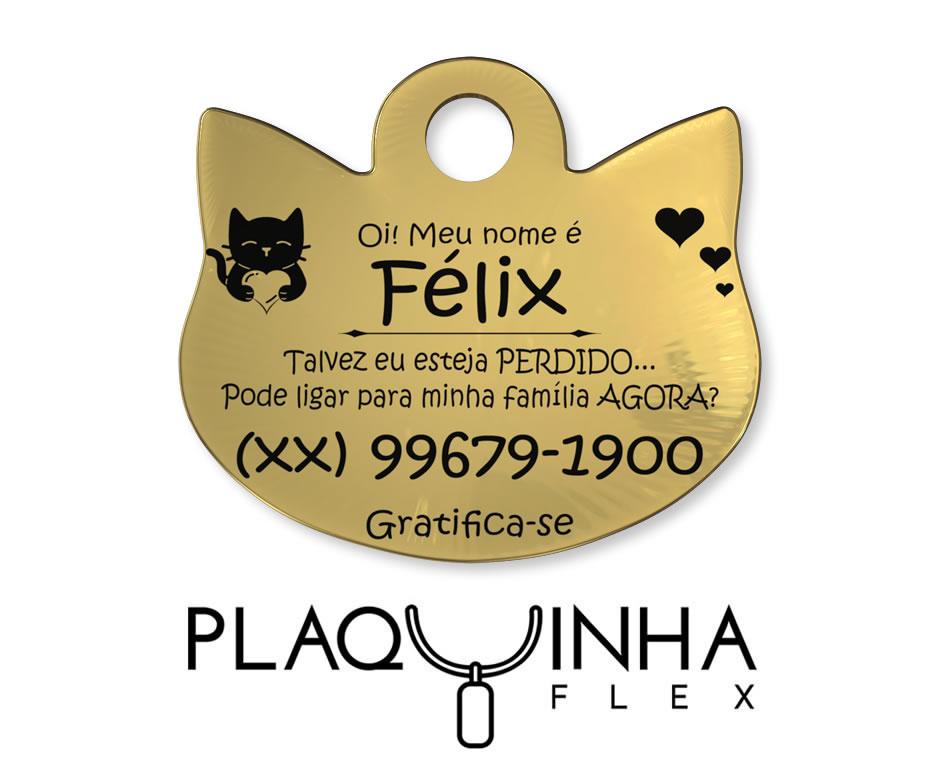 ❤ PlaquinhaFlex para Gatos Banhada a Ouro
