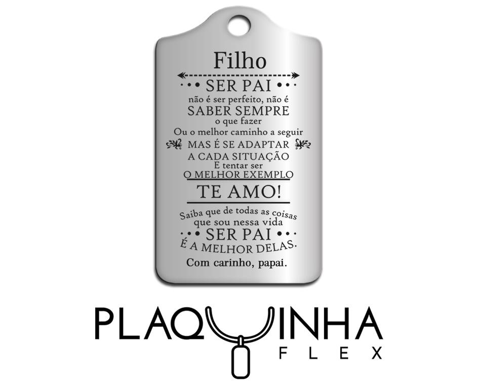 ❤ Homenagens - de Pai para Filho Mod. 015 - Aço Inox