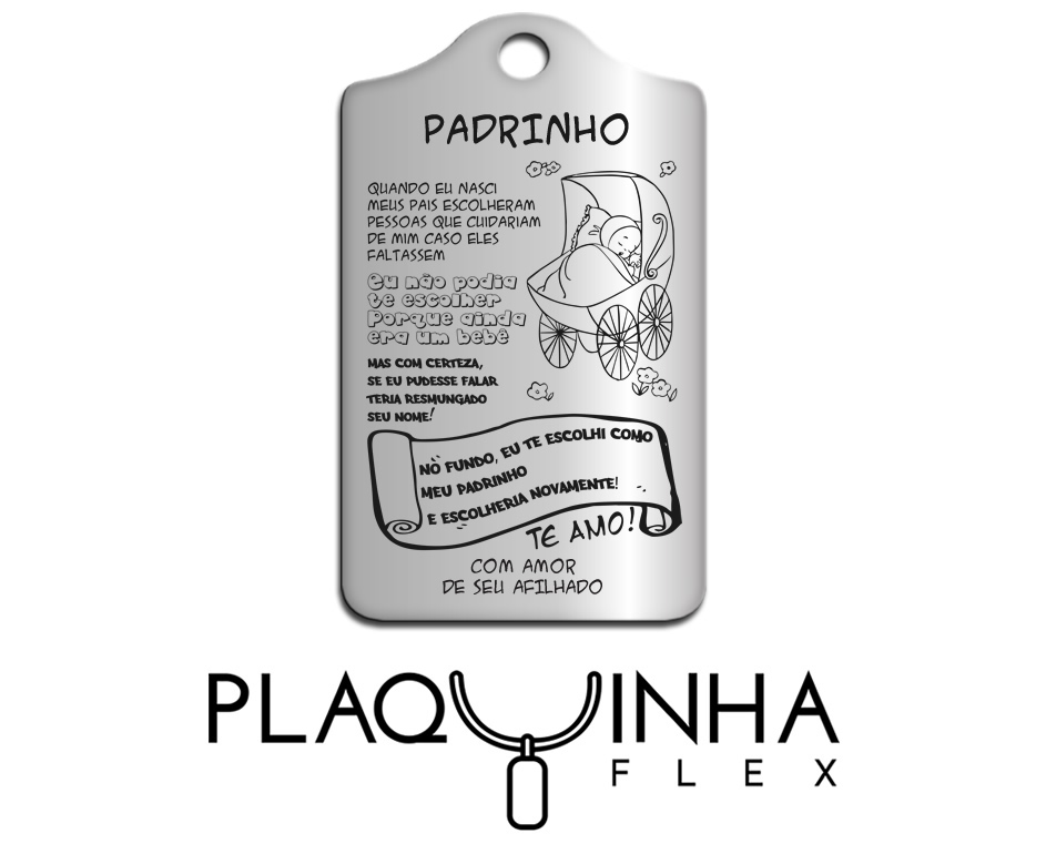 ❤ Homenagens - de Afiliado para Padrinho Mod. 181 - Aço Inox