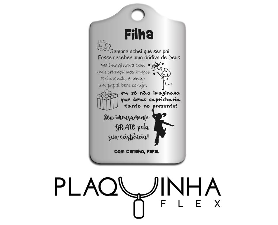 ❤ Homenagens - de Pai para Filha Mod. 042 - Aço Inox