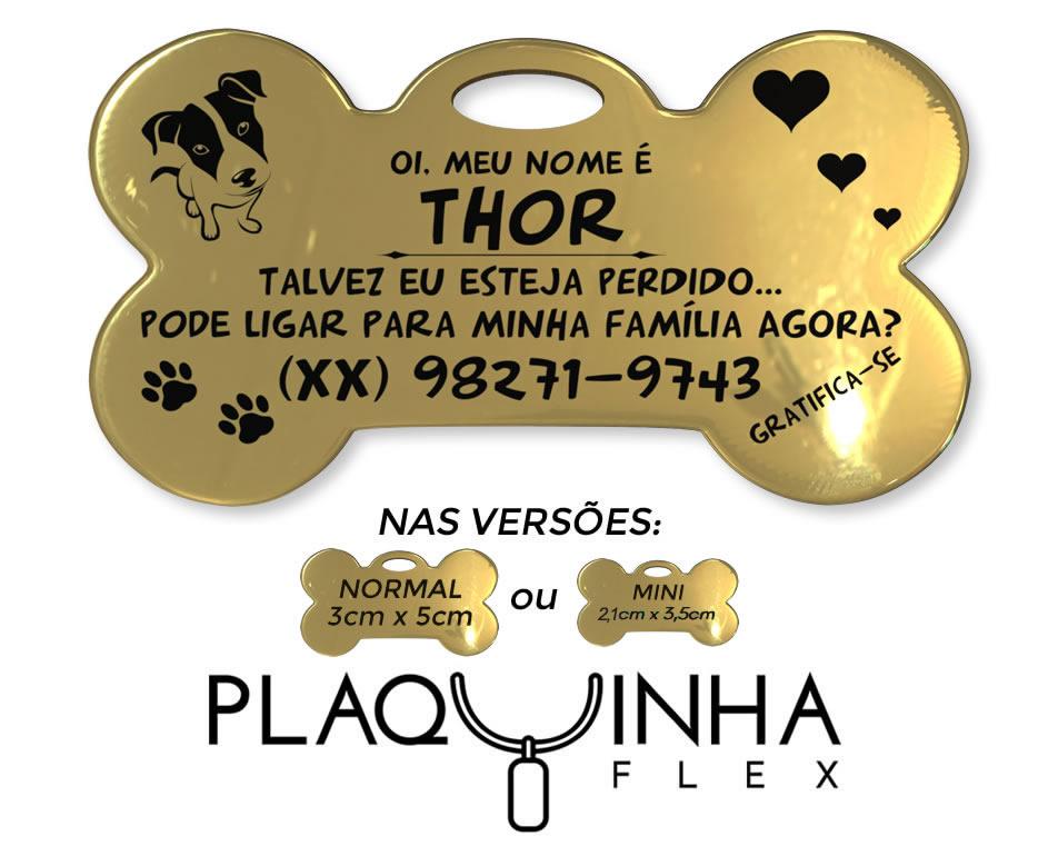 ❤ PlaquinhaFlex para Cães Banhada a Ouro