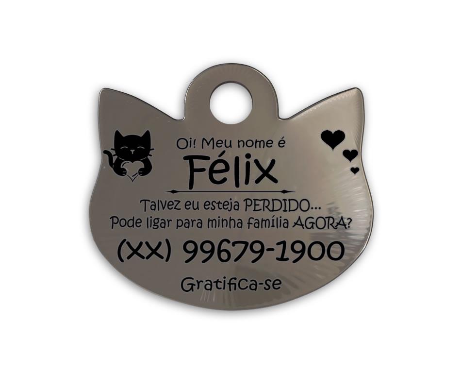 ❤ PlaquinhaFlex para Gatos em Aço INOX