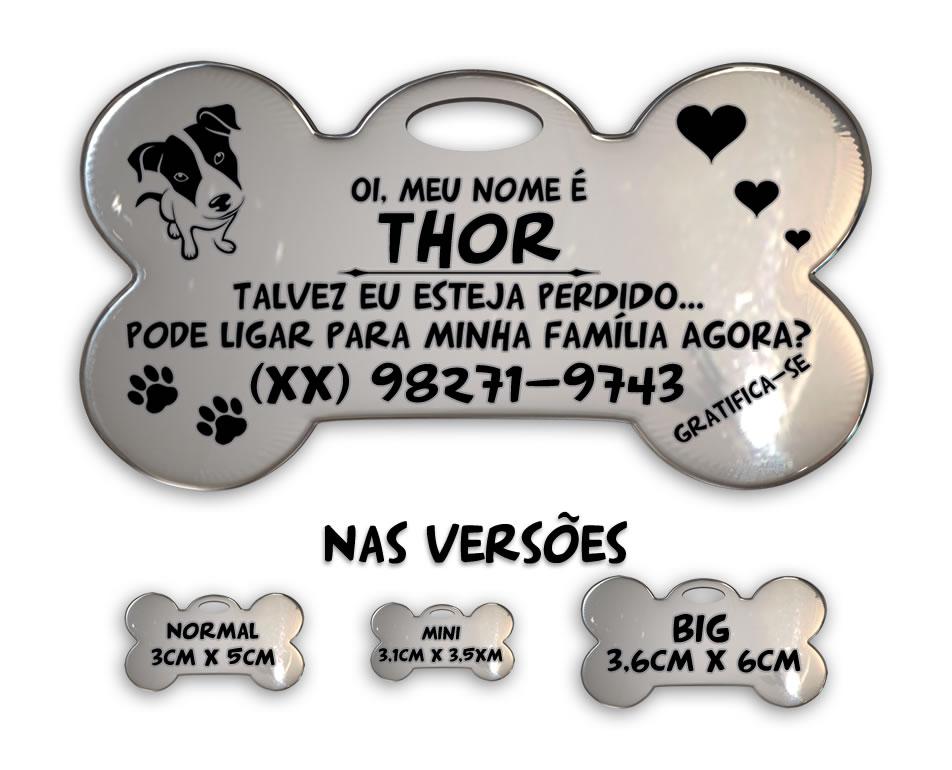 ❤ Placa Identificadora para Cães em Aço INOX